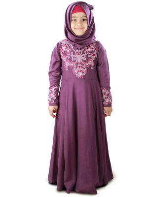 Purple Color Kid'S-Rayon Kid'S Abaya