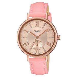 Casio Sheen SHE-3066PGL-4AUDF (SX239) Leather Strap Women's Watch