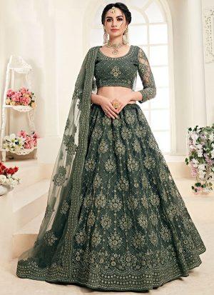 Dark Emerald Designer Wedding Wear Embroidery Lehenga