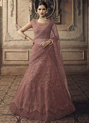 Dark Onion Pink Designer Wedding Wear Embroidery Lehenga