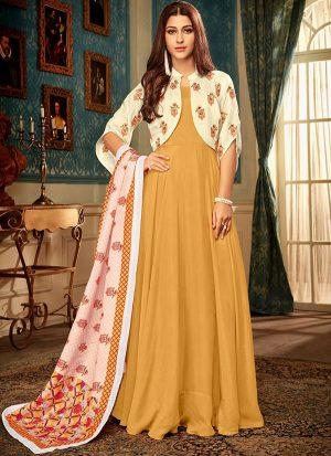 Mustard Silk Blend Anarkali Salwar Kameez
