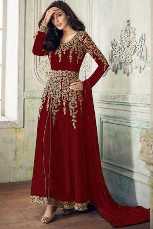 Maroon Georgette Anarkali Salwar Kameez