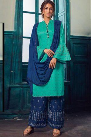 Turquoise Satin Pakistani Salwar Kameez