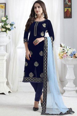 Blue Velvet Pakistani Salwar Kameez