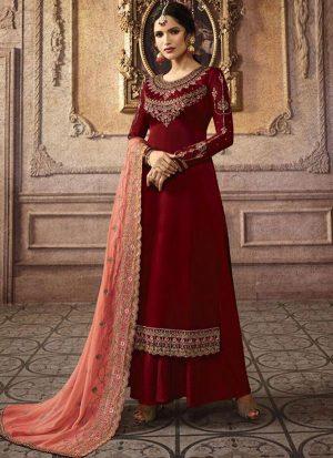 Maroon Georgette Pakistani Salwar Kameez