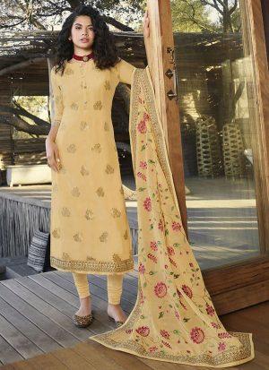 Cream Jacquard Ready To Ship Salwar Kameez