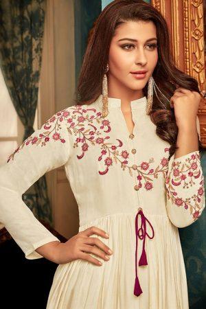 Off White Silk Blend Pakistani Salwar Kameez