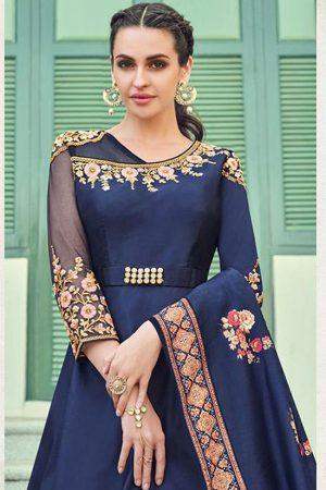 Royal Blue Silk Blend Anarkali Salwar Kameez