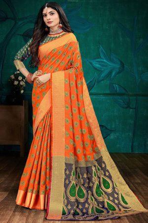 Dark Orange Faux Silk Blend Party Wear Sarees