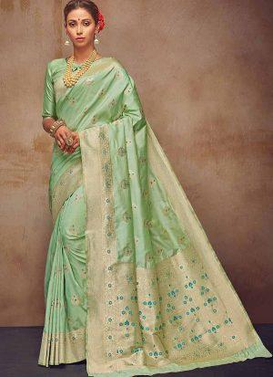 Parrot Green Art Silk Sarees Art Silk Sarees