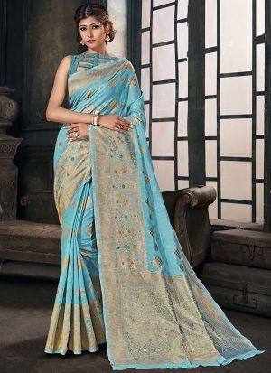 Sky Blue Cotton Silk Cotton Silk Sarees
