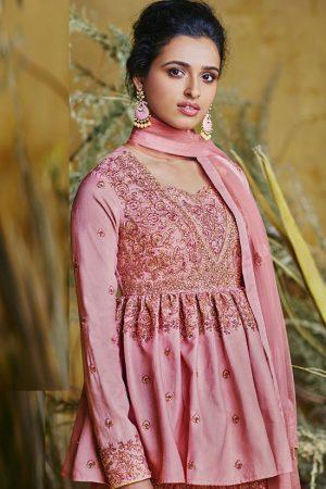 Pink Silk Blend Anarkali Salwar Kameez