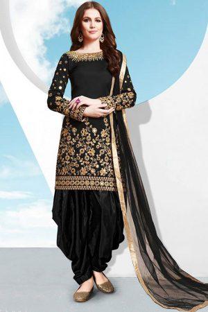 Black Silk Blend Punjabi Suits