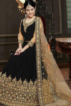 Black Velvet Anarkali Salwar Kameez