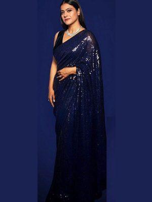 Kajol Rembo Sequence Work Designer Bollywood Blue Saree