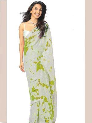 Kiara Advani In Printed Parrot Green Tie Dye Saree