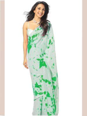 Kiara Advani In Printed Sky Blue Tie Dye Saree