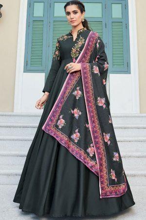 Black Silk Blend Anarkali Salwar Kameez