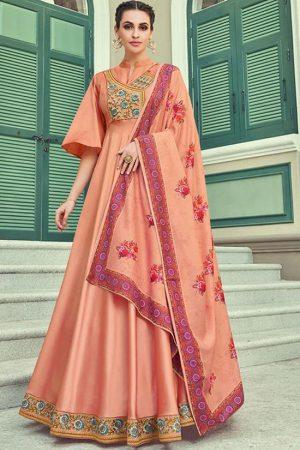 Dark Peach Silk Blend Anarkali Salwar Kameez