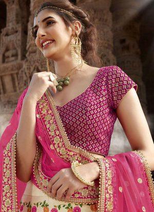 Off White Designer Wedding Wear Embroidery Lehenga
