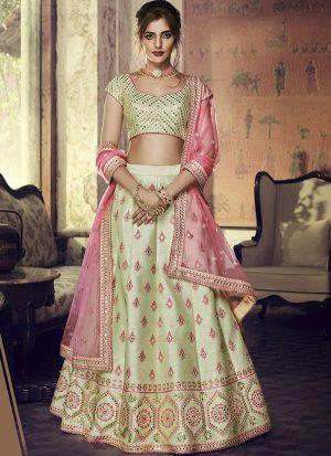Pastel Designer Wedding Wear Embroidery Lehenga