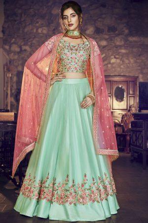 Turquoise Designer Wedding Wear Embroidery Lehenga