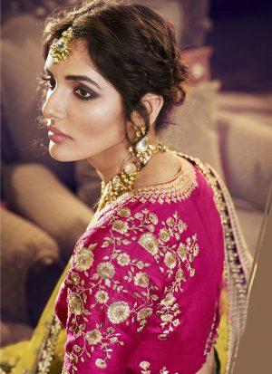 Purple Designer Wedding Wear Embroidery Lehenga