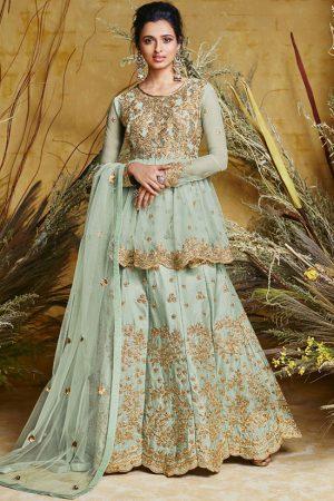 Aqua Blue Silk Blend Anarkali Salwar Kameez