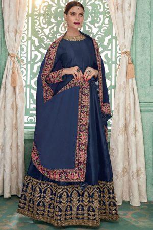 Blue Silk Blend Anarkali Salwar Kameez