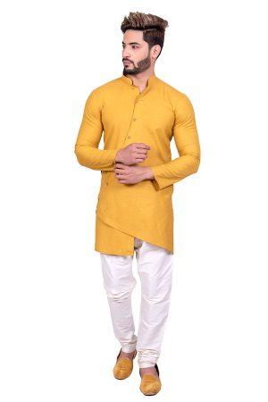 Mustard Reception Wear Cool Cotton Indo Western Sherwani