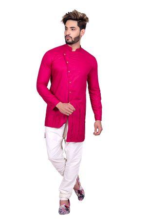 Magenta Wedding Wear Cool Cotton Indo Western Sherwani