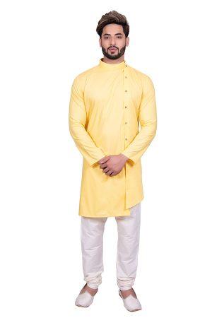 Yellow Reception Wear Cool Cotton Indo Western Sherwani