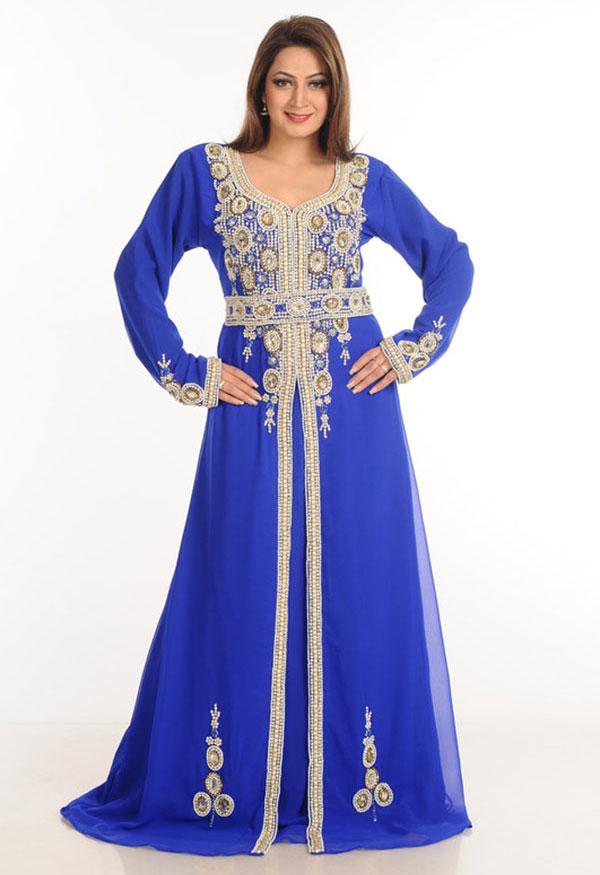 Blue Zari Work Stones & Beads Embellish Georgette Islamic Style Arabian Maxi Partywear Kaftan