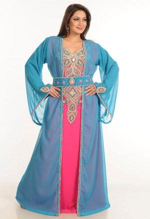 Multicolor Zari Work Stones & Beads Embellish Georgette Islamic Style Arabian Maxi Partywear Kaftan