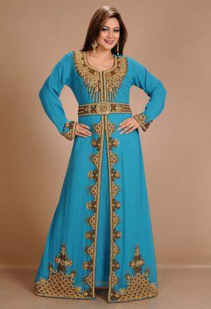 Turqoise Zari Work Stones & Beads Embellish Georgette Islamic Style Arabian Maxi Partywear Kaftan