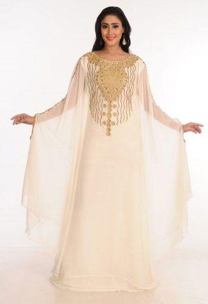 Cream Zari Work Stones & Beads Embellish Georgette Islamic Style Arabian Maxi Partywear Kaftan