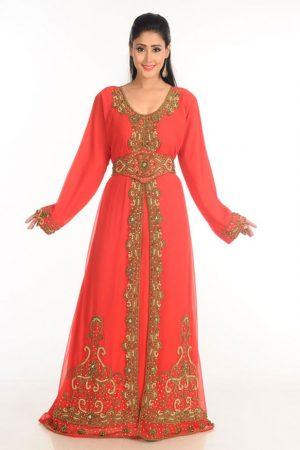Red Zari Work Stones & Beads Embellish Georgette Islamic Style Arabian Maxi Partywear Kaftan