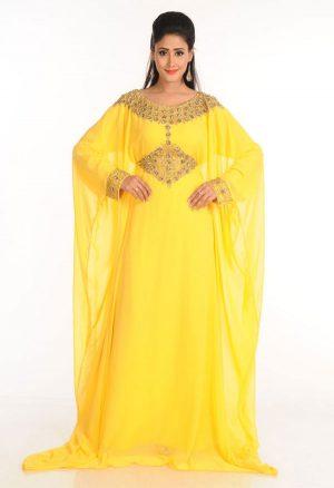 Yellow Zari Work Stones & Beads Embellish Georgette Islamic Style Arabian Maxi Partywear Kaftan