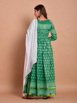 Green Bandhej Cotton Kurta Sets