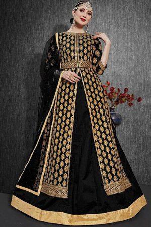 Black Silk Blend Pakistani Salwar Kameez