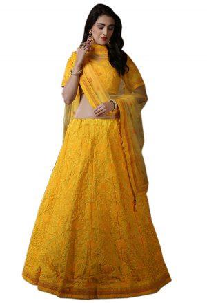 Yellow Embroidered Silk Festive Semi Stitched Lehenga