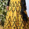 Yellow Embroidered Art Silk Wedding & Party Wear Semi Stitched Lehenga