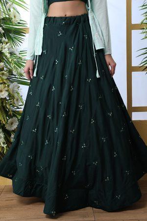 Dark Green Embroidered Maslin Cotton Wedding & Party Wear Semi Stitched Lehenga