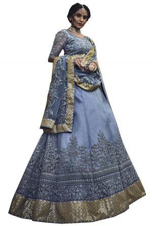 Grey Dori Work Soft Net Wedding & Party Wear Semi Stitched Lehenga