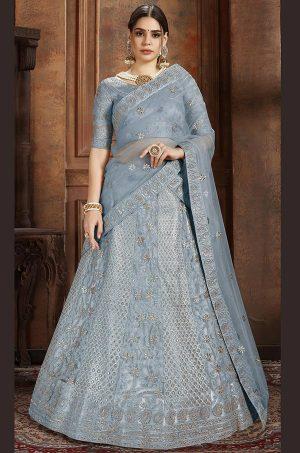 Sky Blue Embroidered Soft Net Wedding & Party Wear Semi Stitched Lehenga
