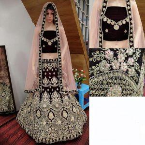 Maroon Velvet Heavy Embroidery Work Traditional Wedding Season Special Lehenga Choli