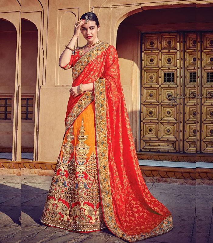 Beautiful Designer Wear Orange Chennai Silk Padding Georgette Bollywood Lehenga