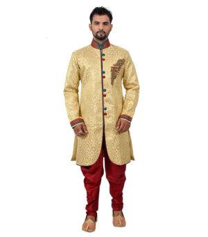 Brocade Silk Golden Indo Western Sherwani