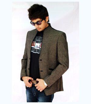 Gorgeous High Neck Linen Grey Designer Blazers