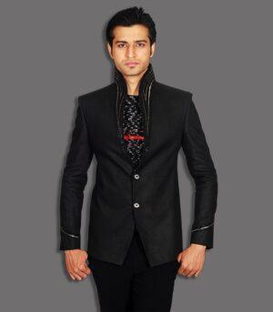Favorite Cut Dana Work On Linen Fabric Black Designer Blazers